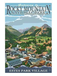 Estes Park Village, Colorado - Town View by Lantern Press
