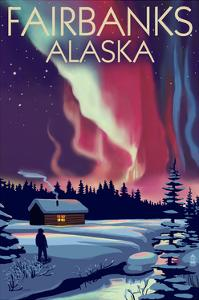 Fairbanks, Alaska - Northern Lights and Cabin by Lantern Press