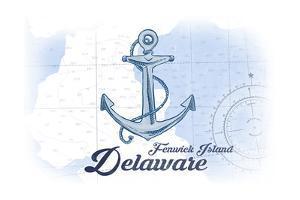 Fenwick Island, Delaware - Anchor - Blue - Coastal Icon by Lantern Press