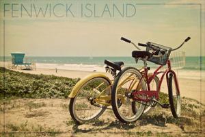 Fenwick Island, Delaware - Bicycles and Beach Scene by Lantern Press
