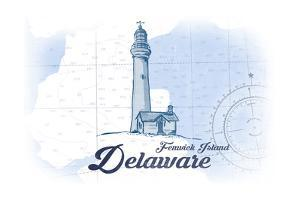 Fenwick Island, Delaware - Lighthouse - Blue - Coastal Icon by Lantern Press