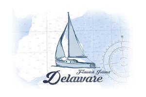 Fenwick Island, Delaware - Sailboat - Blue - Coastal Icon by Lantern Press