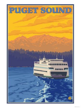 Ferry and Mountains, Puget Sound, Washington by Lantern Press