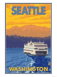 Ferry and Mountains, Seattle, Washington by Lantern Press