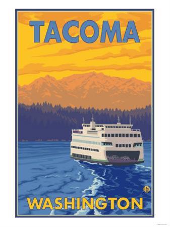 Ferry and Mountains, Tacoma, Washington by Lantern Press