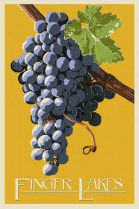 Finger Lakes, New York - Wine Grapes - Letterpress by Lantern Press