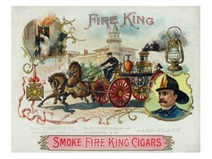 Fire King Brand Cigar Box Label, Firemen with Horse Engine by Lantern Press