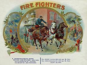 Firefighters Brand Cigar Inner Box Label, Fireman with Horse-Drawn Engine by Lantern Press