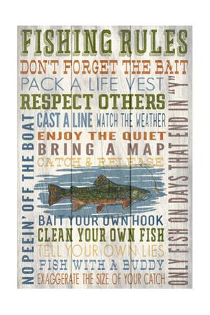 Fishing Rules - Barnwood Painting by Lantern Press