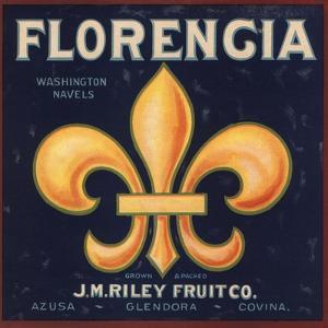 Florencia Brand - Azusa, California - Citrus Crate Label by Lantern Press