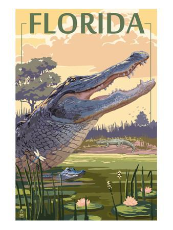 Florida - Alligator Scene by Lantern Press