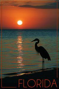 Florida - Heron and Sunset by Lantern Press