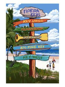 Florida Keys - Sign Destinations by Lantern Press