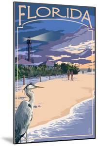 Florida - Lighthouse and Blue Heron Sunset by Lantern Press