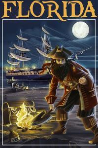 Florida - Pirate and Treasure by Lantern Press
