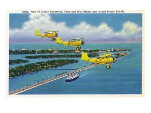 Florida - Planes Flying over Causeway, Miami Beach by Lantern Press