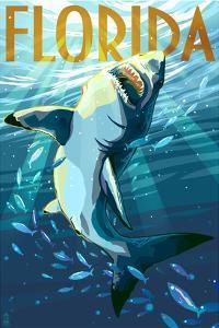 Florida - Stylized Shark by Lantern Press