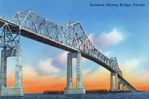 Florida - View of Sunshine Skyway Bridge by Lantern Press