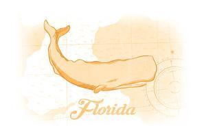 Florida - Whale - Yellow - Coastal Icon by Lantern Press