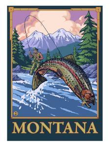 Fly Fishing Scene, Montana by Lantern Press