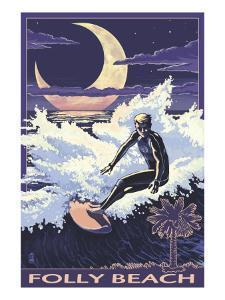 Folly Beach, SC - Sufer with Palmetto Moon by Lantern Press