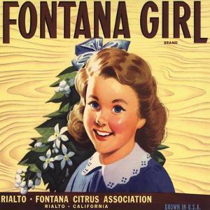 Fontana Girl Brand - Rialto, California - Citrus Crate Label by Lantern Press