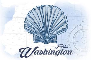 Forks, Washington - Scallop Shell - Blue - Coastal Icon by Lantern Press