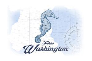 Forks, Washington - Seahorse - Blue - Coastal Icon by Lantern Press