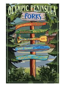 Forks, Washington - Sign Destinations by Lantern Press