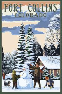 Fort Collins, Colorado - Snowman Scene by Lantern Press