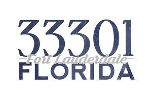 Fort Lauderdale, Florida - 33301 Zip Code (Blue) by Lantern Press