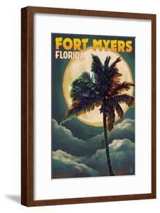 Fort Myers, Florida - Palms and Moon by Lantern Press