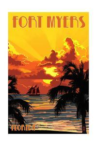 Fort Myers, Florida - Sunset and Ship by Lantern Press