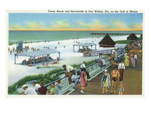 Fort Walton, Florida - View of Beach, Boardwalk, Gulf of Mexico by Lantern Press