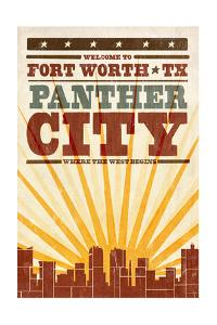 Fort Worth, Texas - Skyline and Sunburst Screenprint Style by Lantern Press