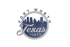 Fort Worth, Texas - Skyline Seal (Blue) by Lantern Press
