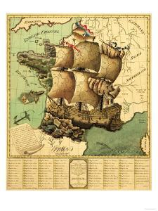 France Represented as a Ship - Panoramic Map by Lantern Press