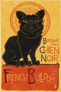 French Bulldog - Retro Chien Noir Ad by Lantern Press