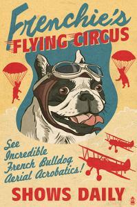 French Bulldog - Retro Flying Circus Ad by Lantern Press