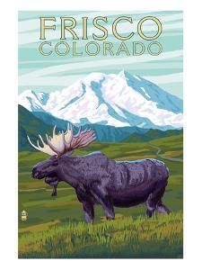 Frisco, Colorado - Moose and Mountains by Lantern Press