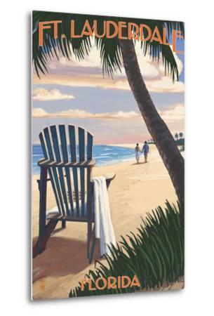 Ft. Lauderdale, Florida - Adirondack Chair on the Beach