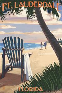 Ft. Lauderdale, Florida - Adirondack Chair on the Beach by Lantern Press