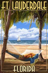 Ft. Lauderdale, Florida - Palms and Hammock by Lantern Press