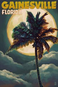 Gainesville, Florida - Palm and Moon by Lantern Press