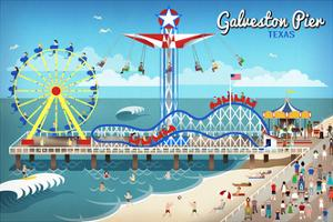 Galveston, Texas - Retro Pier by Lantern Press