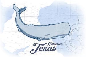 Galveston, Texas - Whale - Blue - Coastal Icon by Lantern Press