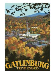 Gatlinburg, Tennessee Town Scene, c.2008 by Lantern Press