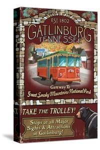 Gatlinburg, Tennessee - Trolley by Lantern Press