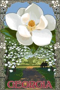 Georgia - Magnolia by Lantern Press