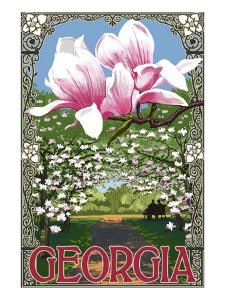 Georgia - Magnolias by Lantern Press